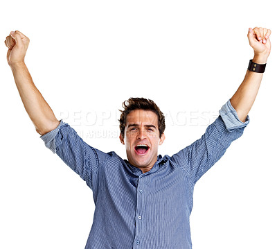 Buy stock photo Portrait of a successful young man with his hands raised against white background