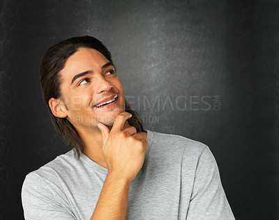 Buy stock photo Close up of man with hand on chin looking into distance