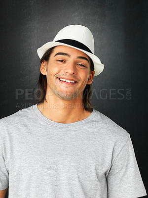 Buy stock photo Portrait of happy man wearing hat on gray background