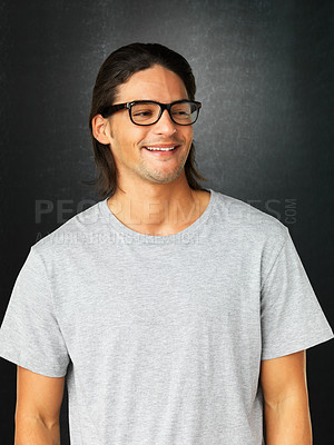 Buy stock photo Casual man wearing glasses and looking into distance