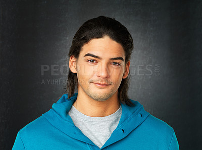 Buy stock photo Close up of handsome man in hooded sweatshirt against gray background