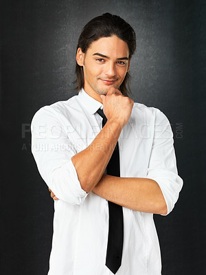 Buy stock photo Handsome man with crossed arms dressed formally against gray background