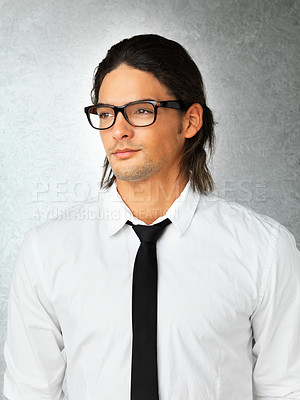 Buy stock photo View of man wearing glasses and looking into distance