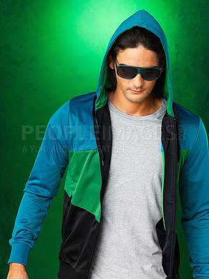 Buy stock photo Man in jacket and sunglasses, looking down