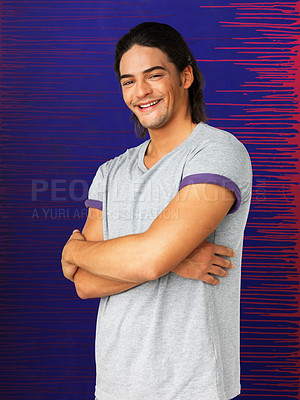 Buy stock photo Attractive man smiling with his arms folded against blue and purple background