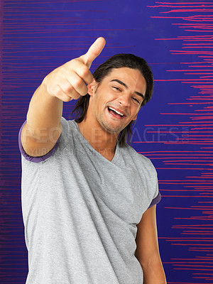 Buy stock photo Handsome man giving thumbs up against blue and purple background