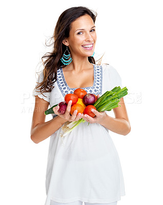 Buy stock photo Portrait of a beautiful young female holding vegetable in hand against white background