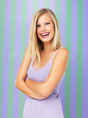 Buy stock photo Portrait of pretty blond woman smiling with arms crossed