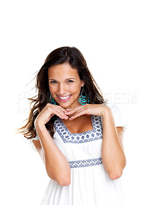 Buy stock photo Portrait of a charming young lady posing against white background