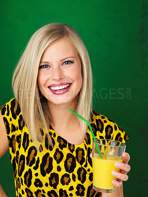 Buy stock photo Portrait of pretty woman holding glass of orange juice