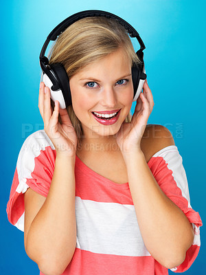 Buy stock photo Close up of pretty woman with headphones on
