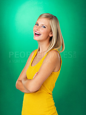 Buy stock photo Side view of pretty blonde woman smiling with arms