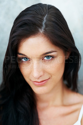 Buy stock photo Closeup portrait of a beautiful young female looking at you with a smile