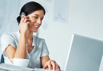 Confident young bussiness woman working in office