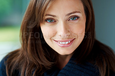 Buy stock photo Closeup portrait of a pretty young lady smiling