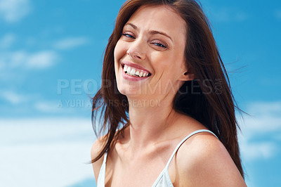 Buy stock photo Portrait of a beautiful young female looking at you with a smile - Outdoor