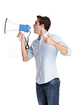 Buy stock photo Profile image of a young man making announcement over a megaphone against white background