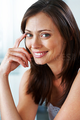 Buy stock photo Closeup portrait of a happy young female looking confidently