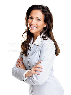 Buy stock photo Portrait of a successful young female entrepreneur standing with folded hand against white background