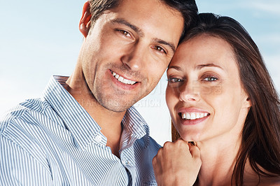 Buy stock photo Closeup portrait of a beautiful young couple smiling together - Outdoor