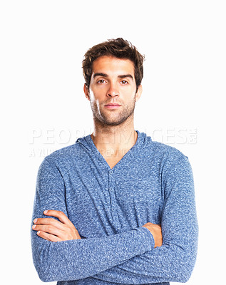 Buy stock photo Handsome man with hands folded against white