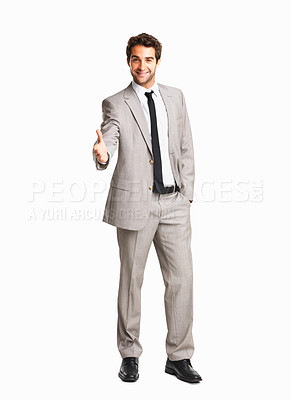 Buy stock photo Confident business man giving you a hand shake on white background