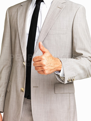 Buy stock photo Business man wishing you luck on white background