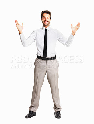 Buy stock photo Excited business man with hands wide open on white background