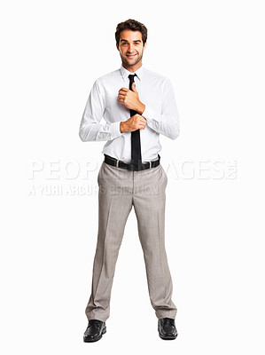 Buy stock photo Full length of a junior executive buttoning his cuff on white background