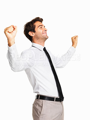 Buy stock photo Successful male executive with fists clenched on white background