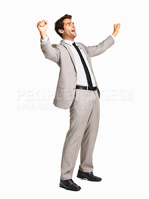 Buy stock photo Full length of an excited business man celebrating success on white background