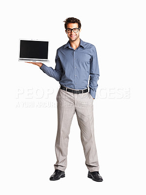Buy stock photo Confident executive in glasses holding a laptop on white background