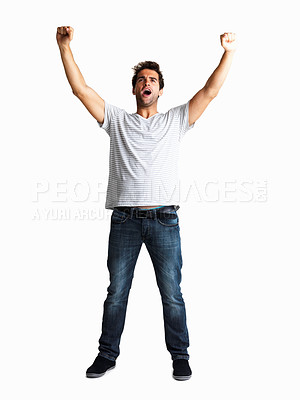 Buy stock photo Casual handsome man throwing his arms up in the air