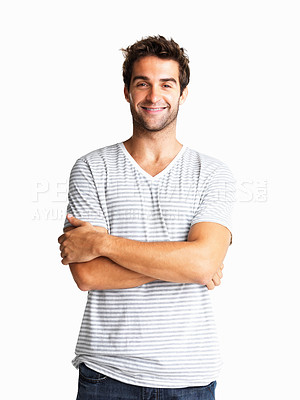 Buy stock photo Handsome man casually posing with arms crossed
