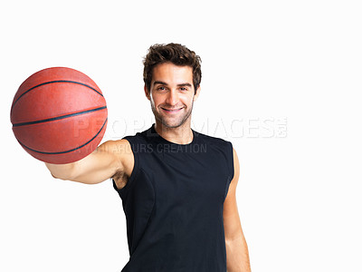 Buy stock photo Basketball player smiling with ball in hand