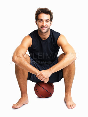 Buy stock photo Happy man sitting on basketball
