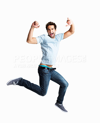 Buy stock photo Handsome man jumping with vigor