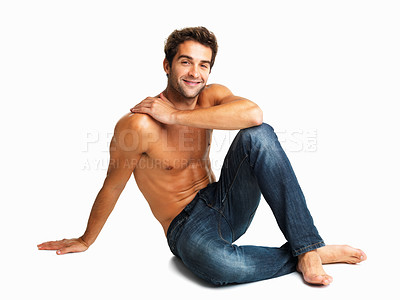 Buy stock photo Muscular man sitting in studio