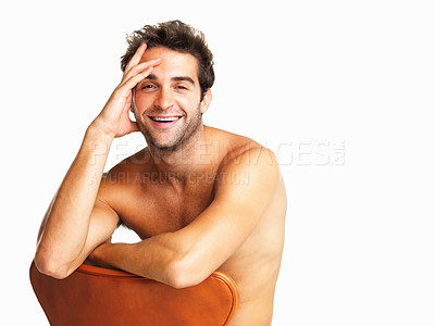 Buy stock photo Sexy muscular man laughing isolated on white background