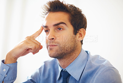 Buy stock photo Closeup portrait of young business man day dreaming