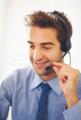 Buy stock photo Closeup portrait of smiling young business man wearing headset