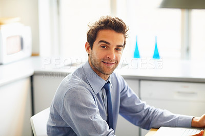 Buy stock photo Closeup of successful business man smiling and working on laptop