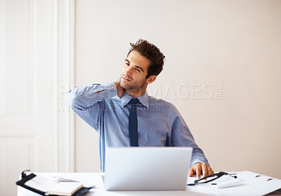 Buy stock photo Portrait of young business man holding neck with pain