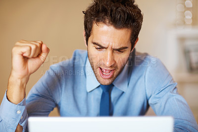 Buy stock photo Excited young business man looking at laptop