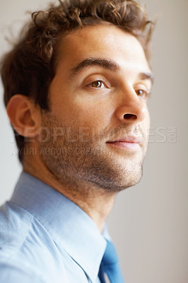 Buy stock photo Closeup of executive looking into distance