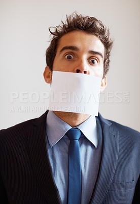 Buy stock photo Paper covering executives mouth
