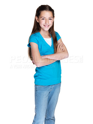 Buy stock photo Portrait of a cute young girl standing with folded hands over white background