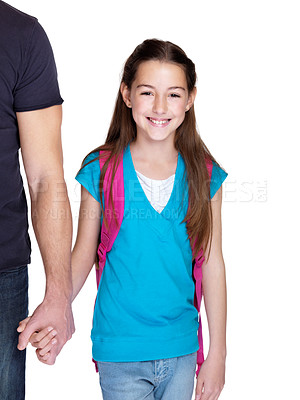 Buy stock photo Portrait of an adorable young girl going to school with her father against white background