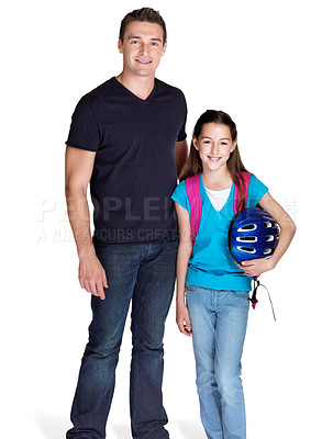 Buy stock photo Portrait of an adorable small girl going to school with her father against white background
