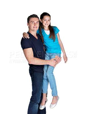 Buy stock photo Portrait of a happy young man carrying his daughter against white background